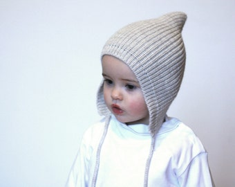 Pixie knit hat ready to ship in the LIGHT BEIGE and BEIGE color sizes from  3 months up to 3 years - Baby Pixie bonnet - Knitted hat Pixie 396f925d04d