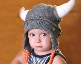 54987d99f08 Viking kids hat - Child knit hat - Viking hat with hornes - Baby Viking  knit hat - Boys knit hat - Toddler hat