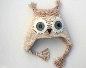 Owl hat kids - Child knit hat - Infant owl hat  - Baby Owl knitted hat - Girl's knit hat