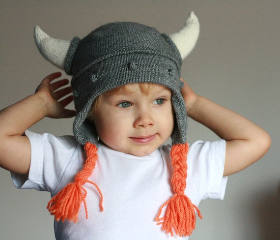 Kids Viking hat Viking hat with hornes Child knit hat  6215cccb717