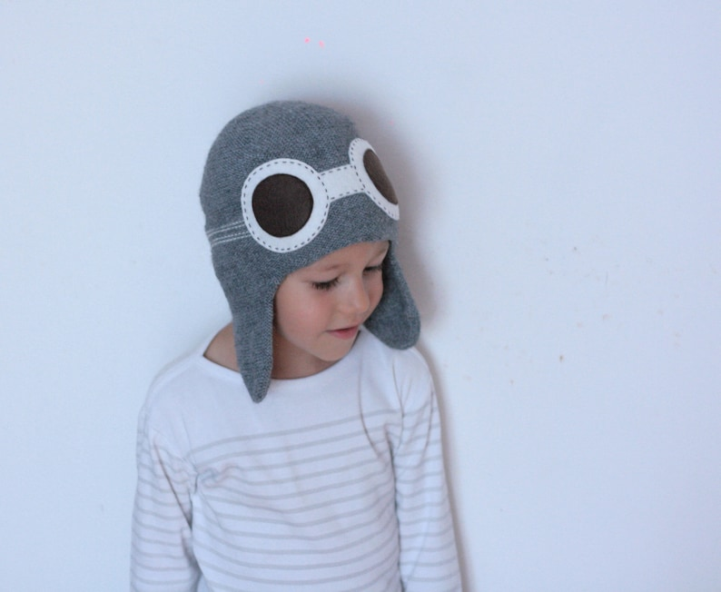 Pilot hat for kids Child knit hat Aviator hat with goggles  c76aa206acf