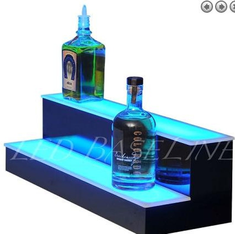Fine 16 Led Liquor Bottle Display Shelf For Home Or Bar 2 Step Interior Design Ideas Lukepblogthenellocom