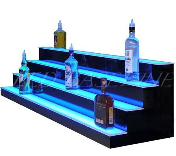 34 4 Step Led Lighted Bar Shelf Liquor Bottle Display Etsy