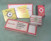 Dennison office label lot vintage office supply, notary seals, signal dots, parcel post label