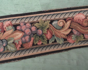 """2.5 yards of wide woven tapestry look trim / 4.5"""" wide fruit strawberry scroll border trim"""