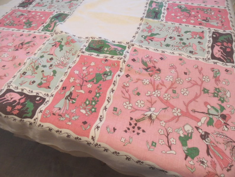 turban Shalimar Garden Persia theme tablecloth  vintage exotic pink and green table cover  music
