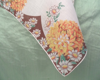 Brown and yellow mum floral handkerchief / cotton hankie / Multiples available