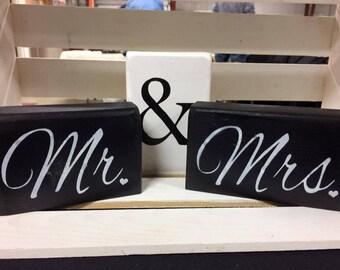 Wedding Mr & Mrs Block Shelf Sitter Personalized