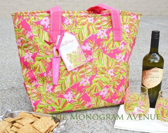 Monogrammed Lilly Pulitzer Insulated Cooler Tote Bag, Authentic Lilly Pulitzer, Monogrammed Cooler Bag, Monogram Beach Bag