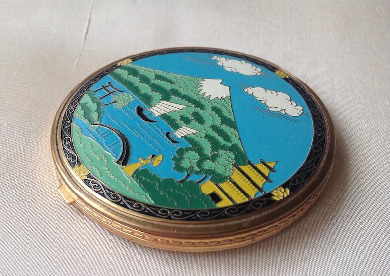 Wonderful Japanese Cloisonn\u00e9 enamel powder Compact unused