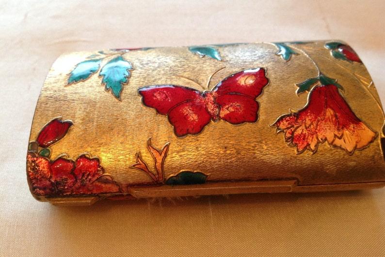 Italian Cloisonne enamelled bolster compact