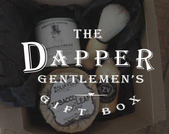 The Dapper Gentlemen's Gift Box | Shaving Gift Set | Men's Skincare | Handmade Gift for Him | Vintage Shaving Kit with Shaving Brush