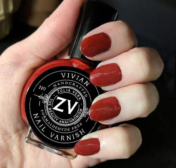 Dark Red Nail Polish Red Nails Vampire Nails Goth Nails | Etsy