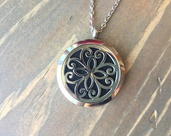 Stainless Steel Essential Oil Diffuser Locket, Aromatherapy Jewelry, Diffusing Necklace, 30mm