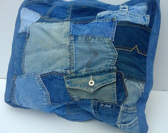 Jeans Pockets Pillow Cover - Repurposed Blue Jean Pocket Pillow - Upcycled Denim Throw Pillow Cover
