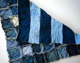Baby Rag Quilt - Patchwork Upcycled Denim Baby Blanket - Repurposed Blue Jean Baby Blanket - Baby Shower Gift