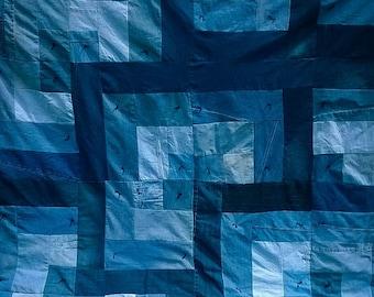 Blue Log Cabin Denim Quilt - Queen Size Upcycled Jean Quilt -  Handmade Hand Tied Jewel Tones denim Blanket