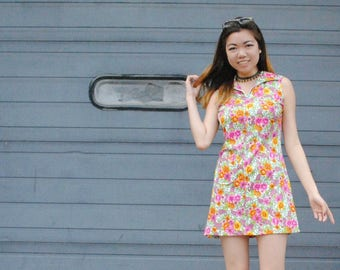 Floral 60's Mini Dress