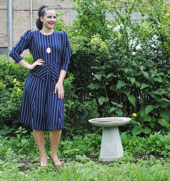 4a025a6a7d Striped Navy Peplum Dress