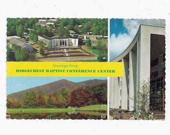 E L Dupuy Asheville Post Card Unposted Aerial View North Carolina FREE USA Ship Pub Ridgecrest Baptist Conference Center Postcard
