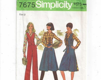 Simplicity 7675 Pattern for Misses Shirt, Pants, Reversible Vest, Back Wrap Shirt, Size 12, From 1976, Vintage Pattern, Home Sewing Pattern