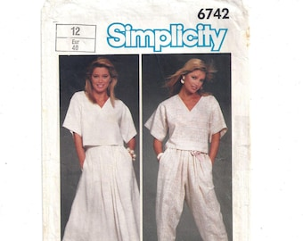 Simplicity 6742 Pattern for Misses' Easy to Sew Top, Skirt, Pants, From 1984, Size 12, Loose Fit Style, Vintage Pattern, Home Sewing