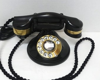 1948 Monophone Rotary Dial Telephone, Black Bakelike & Brass, Automatic Electric, Braided Cloth Cords, Vintage Technology, Pristine Clean