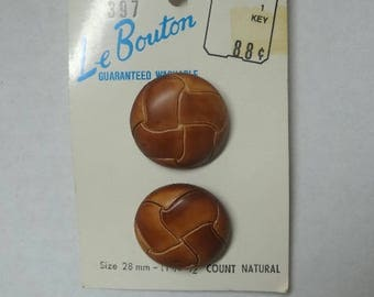 Card of Le Bouton Leather Look Buttons, Shank Style, 1 1/8 Inch or 28 mm, 2 on Card, Made in Italy, Home Sewing Project, Dress Making Supply