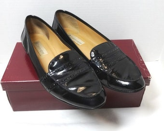 """1990s Etienne Aigner Shoes in Black Patent Leather, """"Kathy,"""" Loafer Style, With a Box, Made in Brazil, Size 10, Vintage Foot Wear, Clothing"""