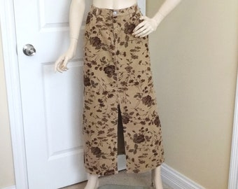 905fa4d063 1990s Eddie Bauer Skirt in Floral Corduroy, Size 12, Midi Length, Front  Slit, Front Zipper, Tan with Burgundy and Brown, Vintage Clothing