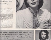 SALE - Reduced, 1948 Magazine Ad for Royal Crown Cola Featuring Loretta Young Her Academy Award, Vintage Magazine Advertising, Mid-Century