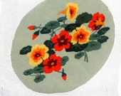 Vintage Elsa Williams Preworked Needlepoint Oval Floral Canvas Ready to be Blocked Made into Pillow, Vintage Needlepoint, Needle Work