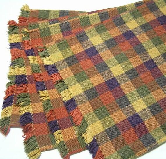 Lot de 4 sets tissés à carreaux Vintage avec une frange en couleurs d'automne par des conceptions Park, fabriquées en Inde, coton, Fall Home Decor, belles couleurs