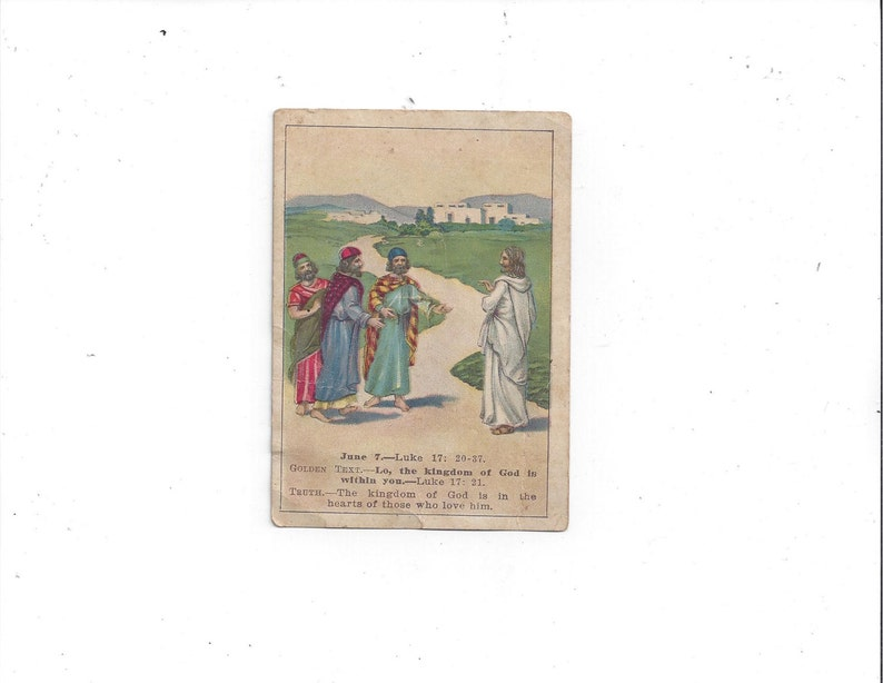 FREE Shipping to USA, 1914 Sunday School Lesson Picture Card, Lesson 10,  June 7,