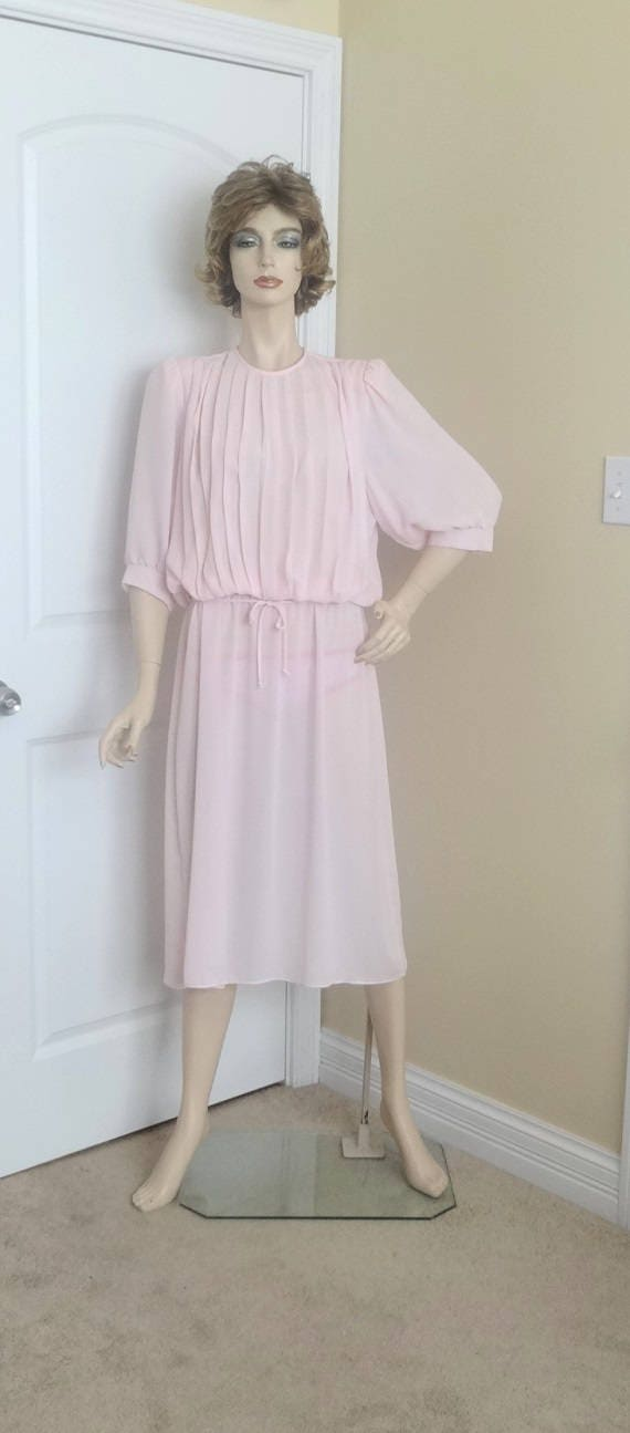 80s Dresses | Casual to Party Dresses 1980S Fashion Dress By Monica Richards, Pale Pink Pleated Bodice, Vintage Clothing, Sheer Fabric, Size 12-14, Cocktail Party $0.00 AT vintagedancer.com