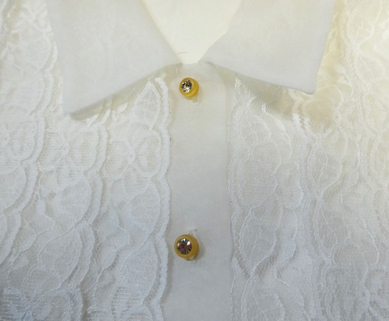 Lace Trim 1992 Karen Kane Sheer White Blouse with Rhinestone Buttons in Shimmer Organza Lifestyle Size 10 Made in USA Vintage Clothing