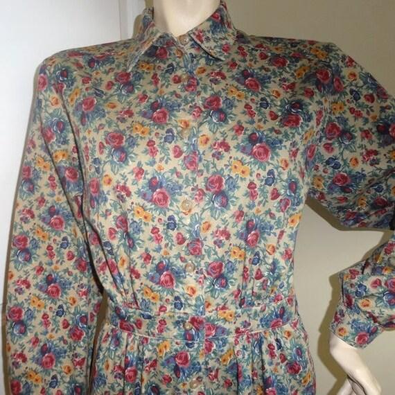 1980s Lands' End Dress in Shirtwaist Floral Twill