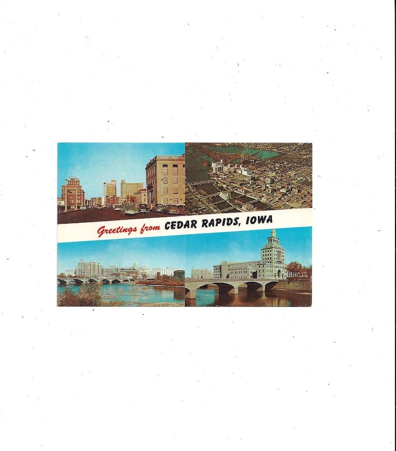 Greetings From Municipal Island Iowa Unposted 3 View Travel Souvenir Ephemera 1960s Postcard of Cedar Rapids 1st Ave. Quaker Oates