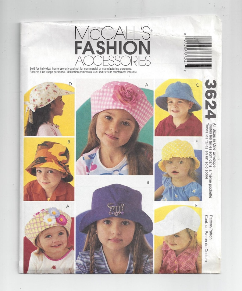 317deabbe01 McCall s 3624 Pattern for Children s Fashion Hat