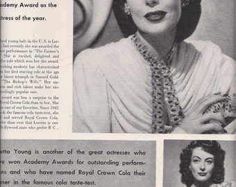 1948 Magazine Ad for Royal Crown Cola Featuring Loretta Young & Her Academy Award, Vintage Magazine Advertising, Mid-Century Ads, Ephemera