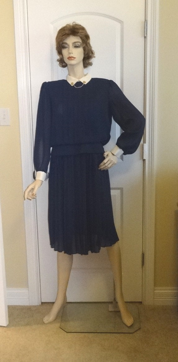 80s Dresses   Casual to Party Dresses 1980S 2 Piece Dress By V.l.p. Petites, Size 8, Navy Pleated Skirt, Collar With Chain Detail, White Trim, Vintage Clothing Fashion $0.00 AT vintagedancer.com