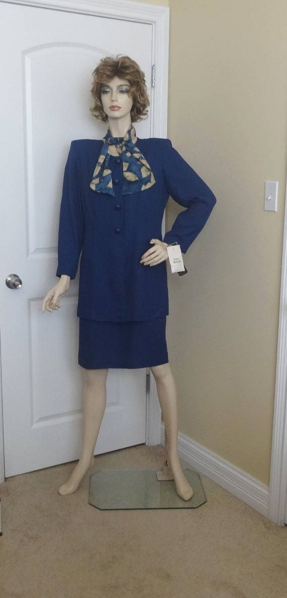 Vintage Scarf Styles -1920s to 1960s 1980S Jc Penney Studio I Petite Dress in Navy With Scarf, New Tags, Size 12, Unworn, Vintage Clothing, Fashion, 2 Piece Look $39.00 AT vintagedancer.com