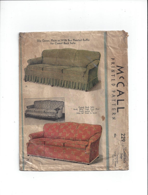 Mccall 229 Pattern For Camel Back Sofa Slip Cover Plain Box Etsy