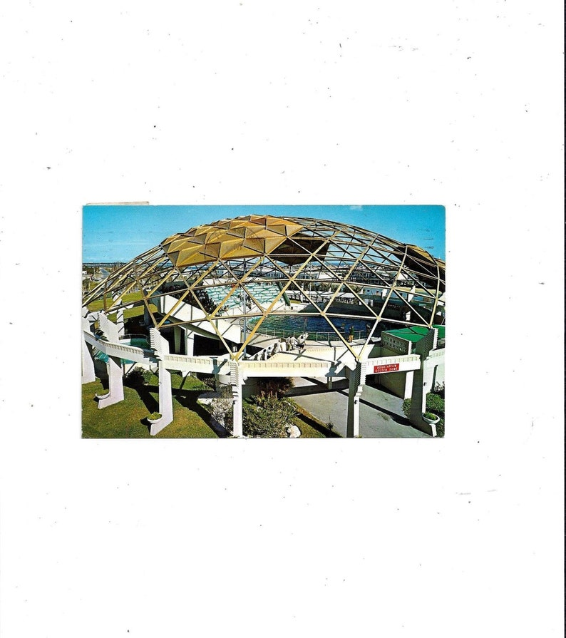 Posted with 6 Cent Stamp 1968 Postcard of Aquatarium FREE Shipping to USA Message Petersburg Beach Florida Golden Dome St