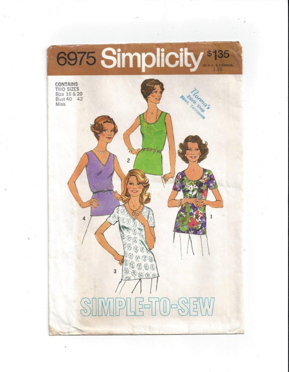 Simplicity 6975 Pattern For Misses Tops Or Blouses In 4 Etsy