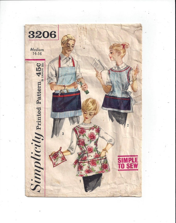 Simplicity 3206 Pattern for Misses\' and Mens\' Apron & | Etsy