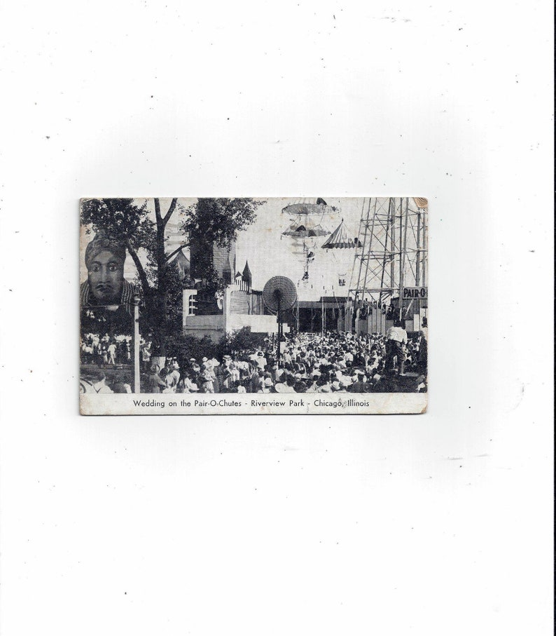Message Illinois FREE Shipping to USA Posted with 2 Cent Stamp 1943 Postcard of Pair-O-Chutes Wedding Souvenir Chicago Riverview Park