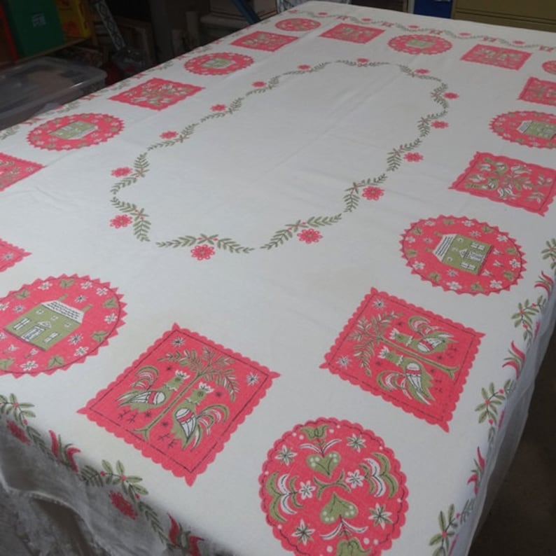 1960s Vintage Linen Tablecloth With Pink Green Federal Folk Art Print 48 X 65 Inch Vintage Linens 1960s Home Decor Vintage Tablecloth