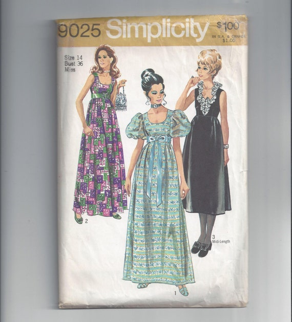 Simplicity 9025 Pattern For Misses Evening Dress In 2 Etsy