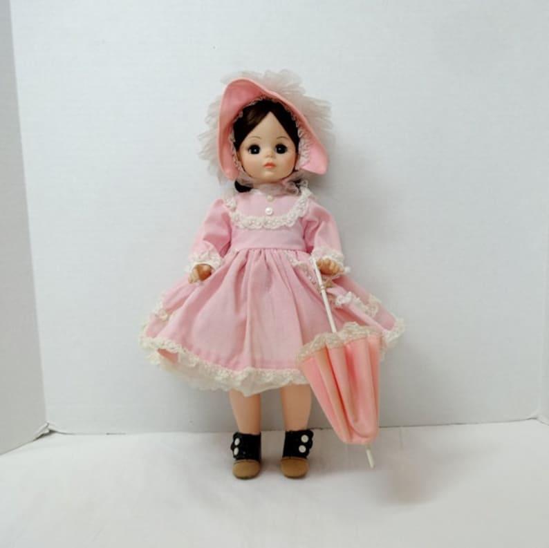 f92e5d8e6bff1 1970-80s Madame Alexander Rebecca Doll, Sunnybrook Farm, 14 Inch, Pink Dot  Dress, Petticoat, Bonnet, Parasol, Vintage Toys Collectibles